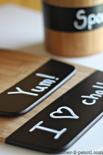 DIY Painted Wood Spoons and Chalkboard Kitchen Accessories