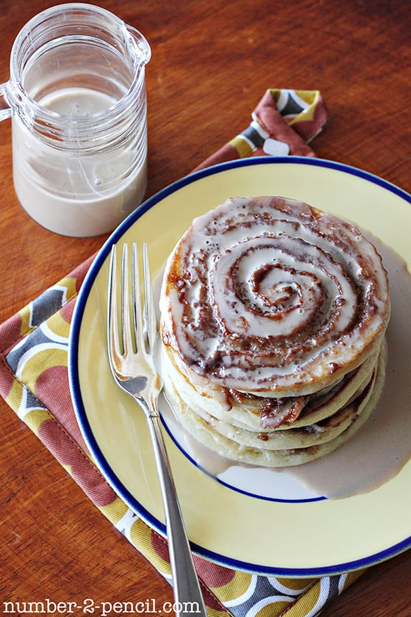 Sour Cream Cinnamon Roll Pancakes with a Maple Coffee Glaze