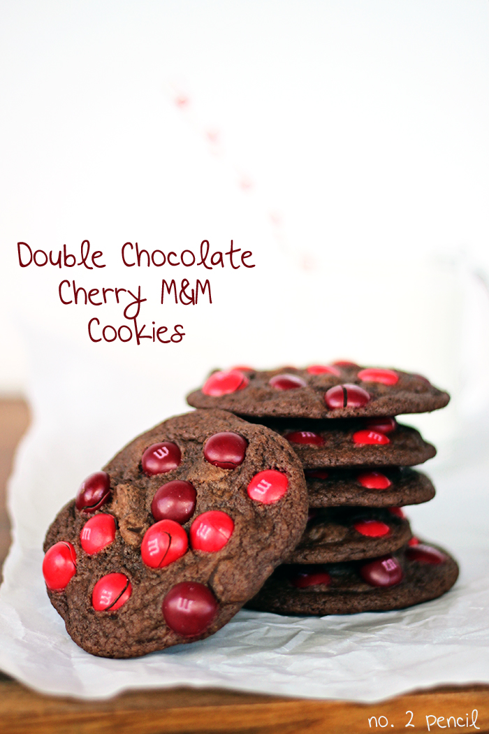 Double Chocolate Cherry M and M Cookies - No. 2 Pencil