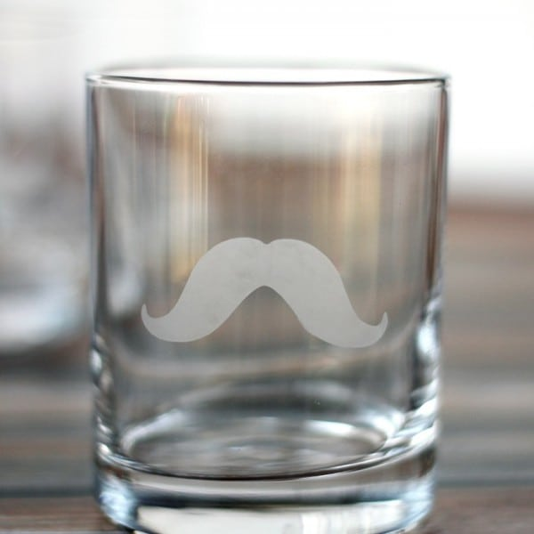 DIY Mustache Glass with Martha Stewart Glass Etching Cream