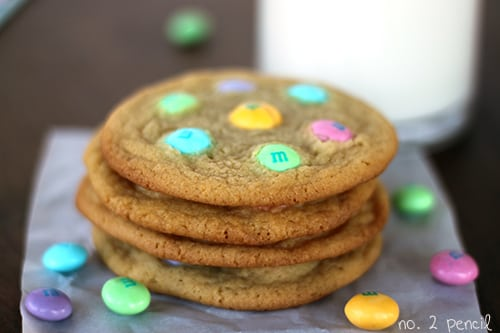 White Chocolate M and M Cookies