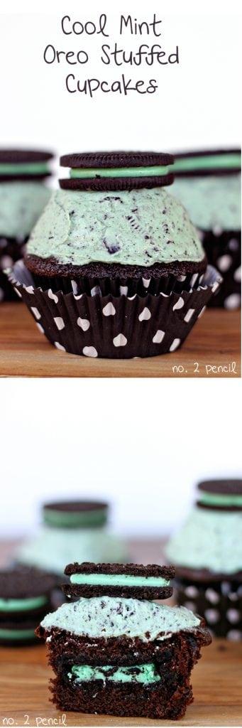Cool Mint Oreo Stuffed Cupcakes