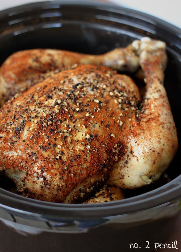 A delicious and simple whole chicken recipe for the slow cooker that is simmered in a zesty sauce combination of balsamic vinegar, soy sauce, and lemon juice, .