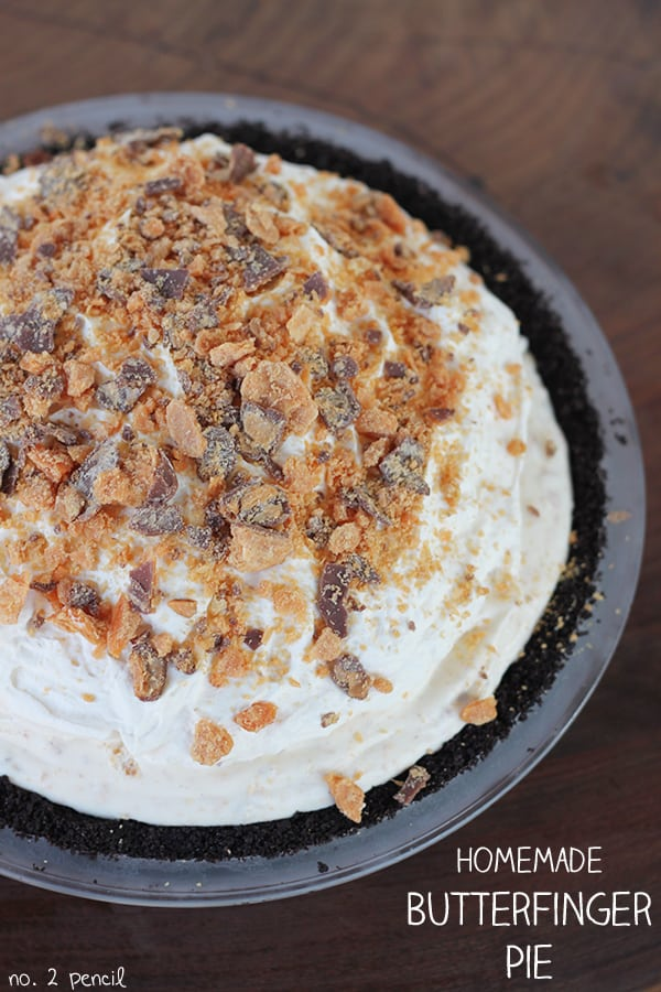 Butterfinger Pie made with easy homemade Butterfinger ice cream.