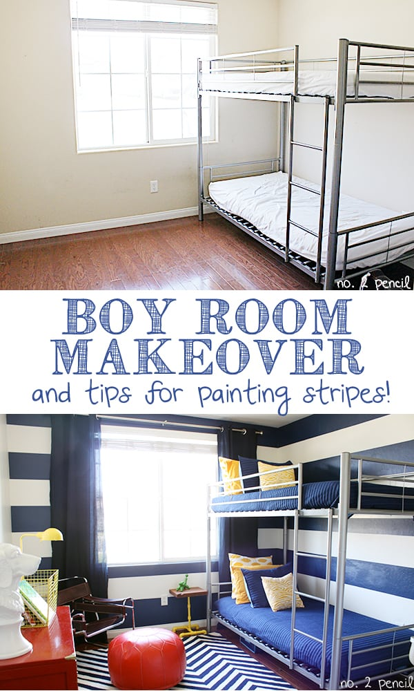 Boy Room Makeover and Tips for Painting Stripes