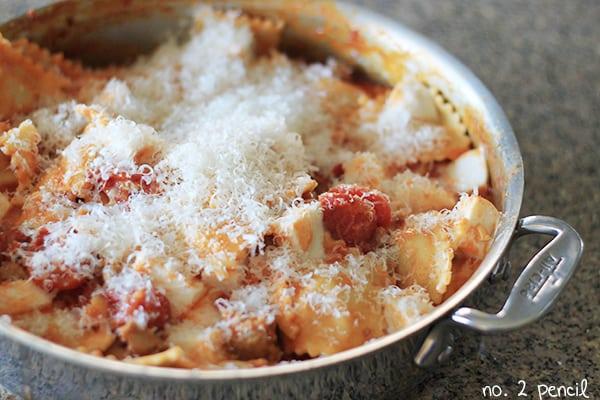 Skillet Lasagna with fresh mozzarella and parmesan
