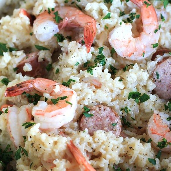 One Pan Sausage and Shrimp Rice