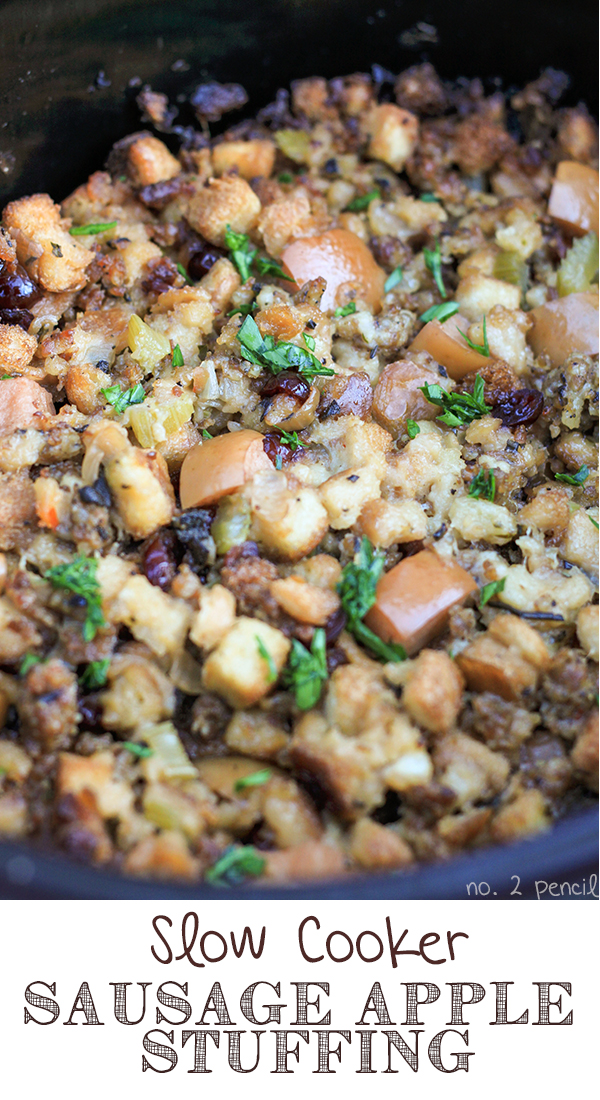 Slow Cooker Stuffing, packed with sausage, apples and cranberries.