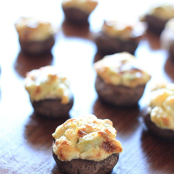 Jalapeño and Artichoke Dip Stuffed Mushrooms