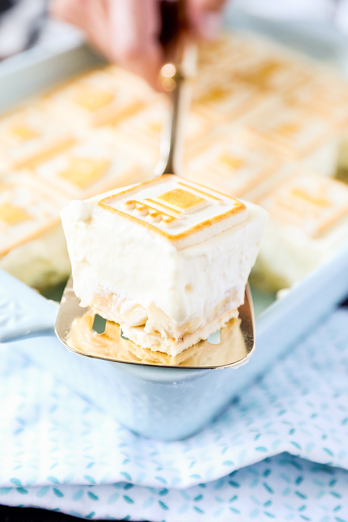 This Paula Deen Banana Pudding Recipe is so thick you can slice it!