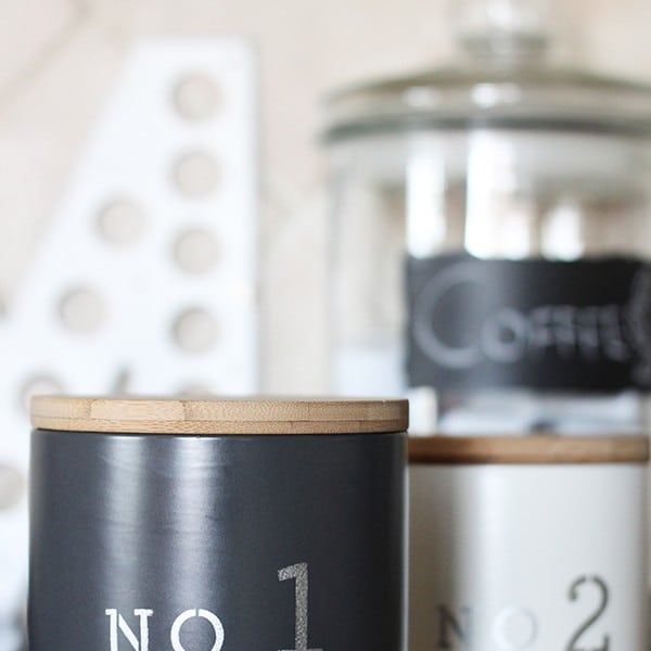 DIY Stenciled Kitchen Canisters