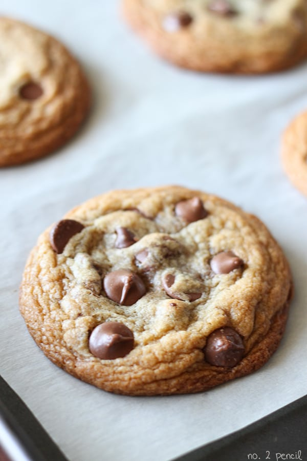 Perfect Chocolate Chip Cookies - no waiting for butter to soften or dough to chill.