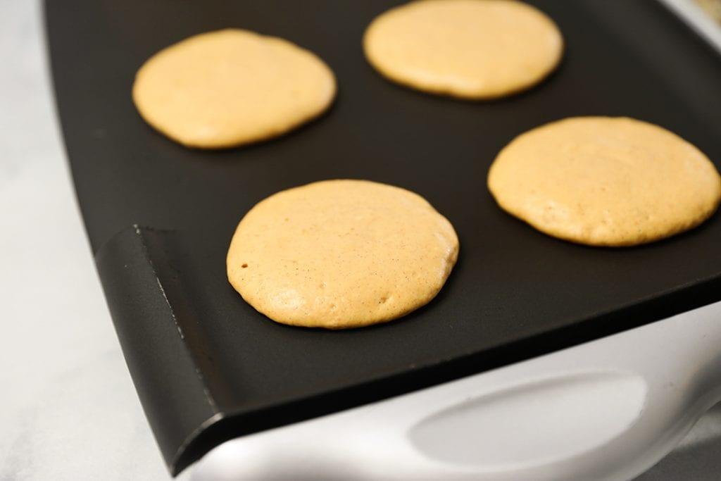 Pumpkin Pancakes on a Griddle