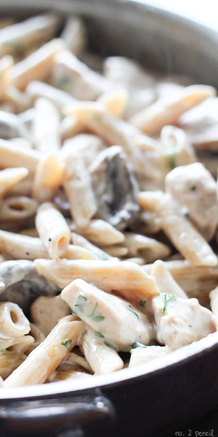 One-Pot Portobello Chicken Alfredo - Meaty baby portobello mushrooms and tender chunks of chicken simmered in a rich homemade alfredo sauce. Everything cooks in the same pot, even the pasta!
