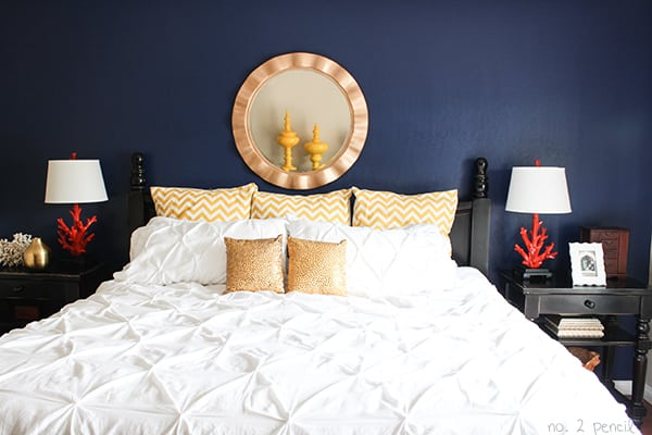 Master Bedroom with Glidden Rich Navy Paint