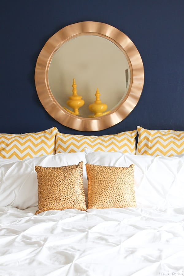 Master Bedroom Makeover with Glidden Rich Navy Paint