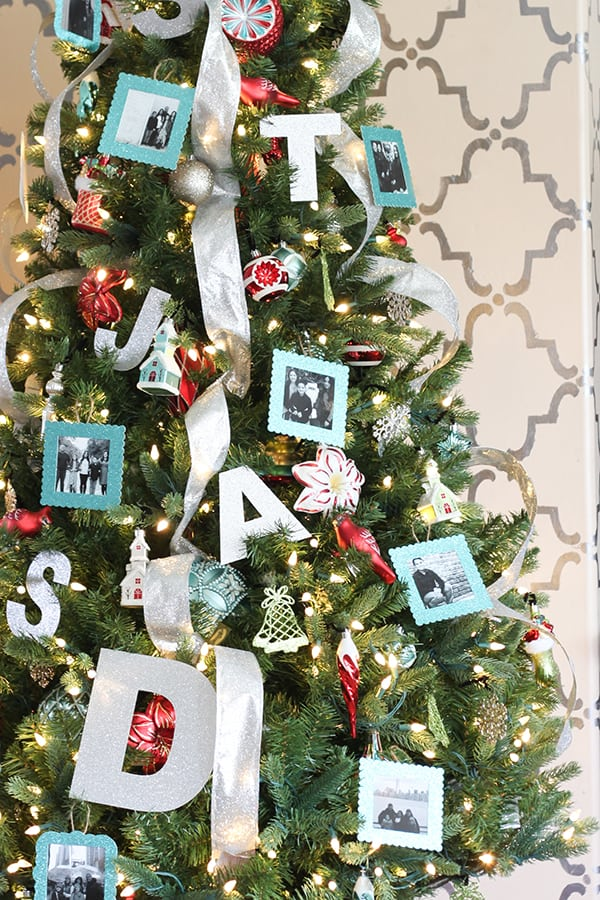 Aqua and red personalized christmas tree with diy photo for Custom christmas tree ornaments