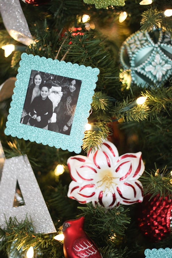 Aqua and Red Personalized Christmas Tree with DIY Photo Ornaments ...