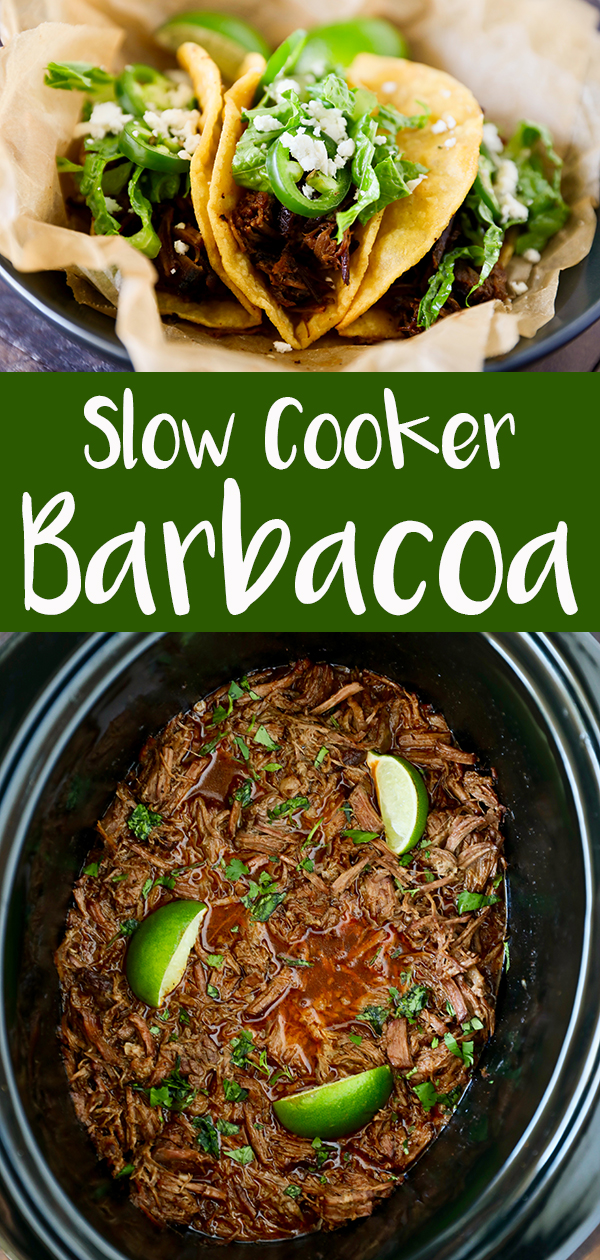 Slow Cooker Barbacoa Recipe has become one of our family favorites. Tender fall apart beef that simmers all day long in flavorful Mexican spices. If you are a fan of Chipotles Barbacoa recipe, you are going to love this recipe. We love to use the Barbacoa for quick and easy tacos. It's perfect on a corn tortilla piled high with fresh pico de gallo, avocados and a squeeze of fresh lime juice. #slowcooker #beefrecipe #familyfavorites Visit www.number-2-pencil.com for more homemade,easy and original recipes.