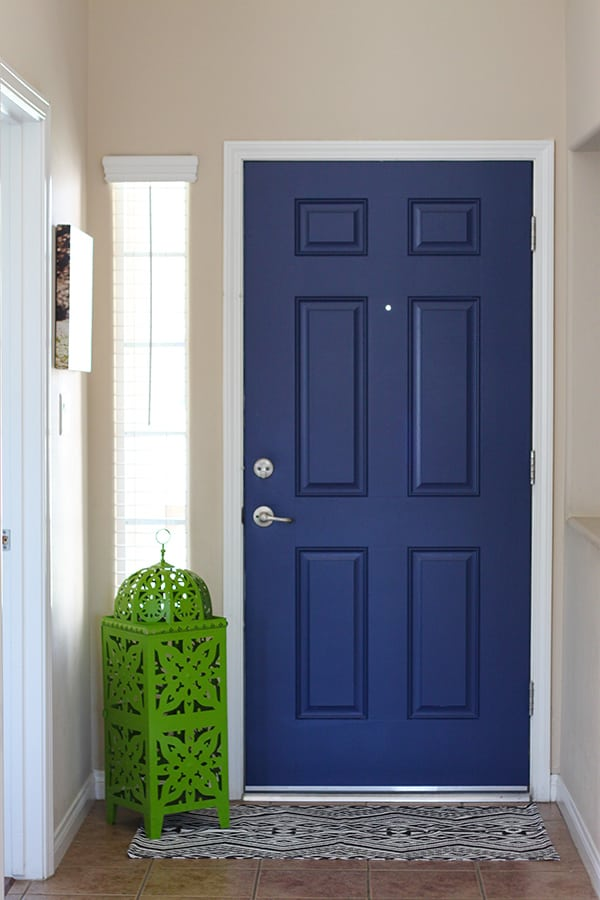 Paint both sides of your front door for a POP of color - Navy Blue Interior