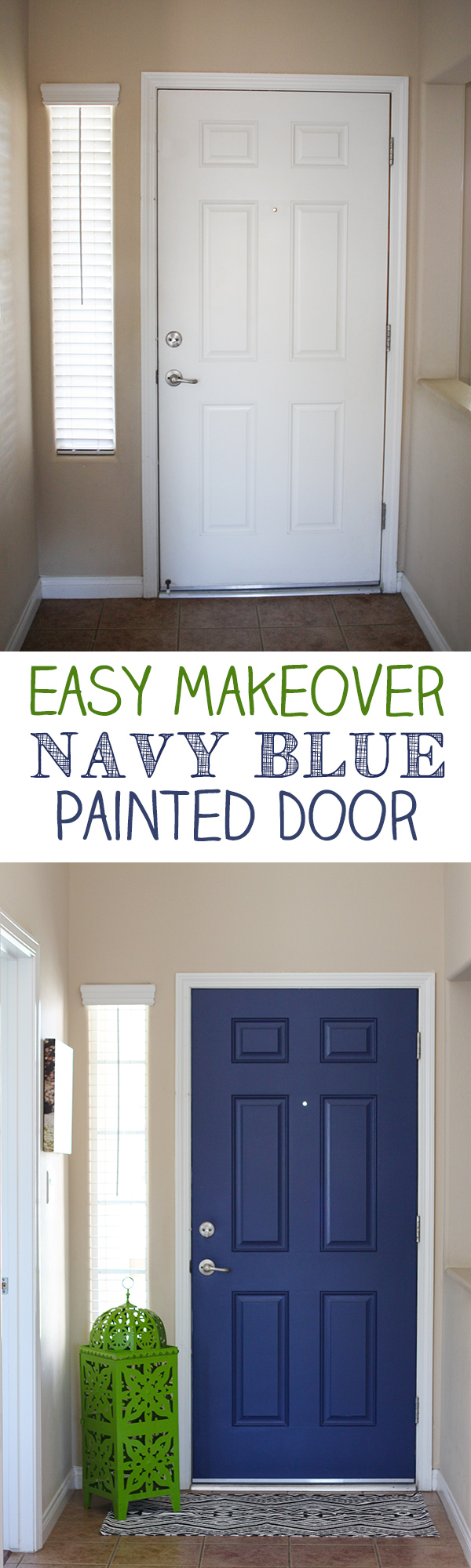 Navy blue interior front door easy pop of color paint both sides of your front door for a pop of color navy blue interior rubansaba
