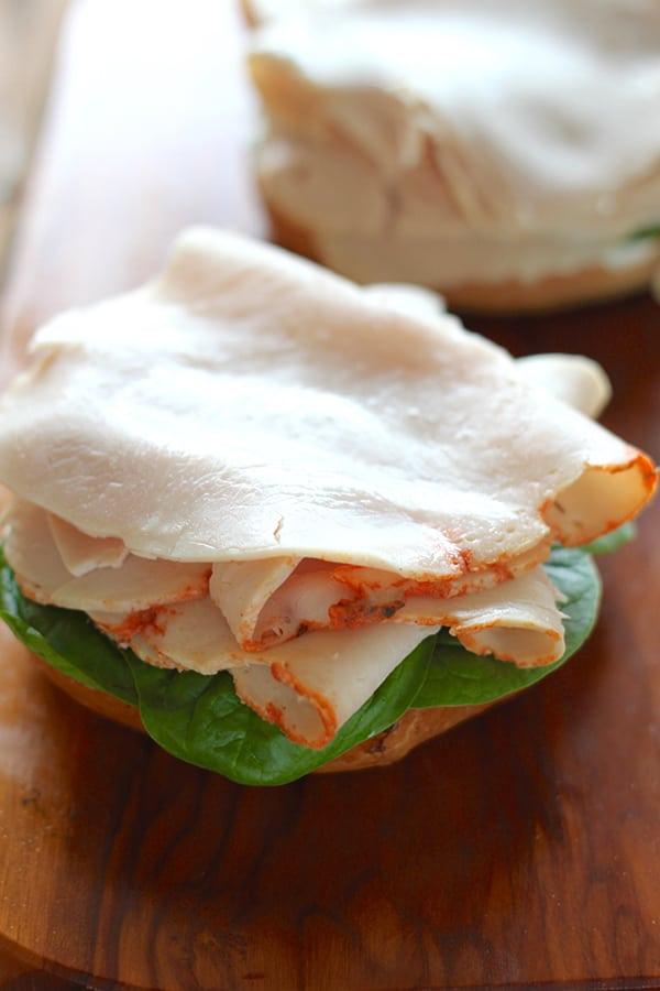 Cranberry and Turkey Pumpkin Spice Bagel Sandwiches
