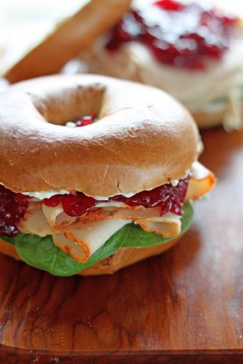 Cranberry Turkey Pumpkin Spice Bagel Sandwich