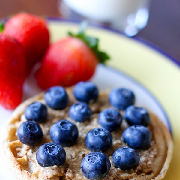Almond Butter Blueberry Toaster Waffle and My Morning Protein