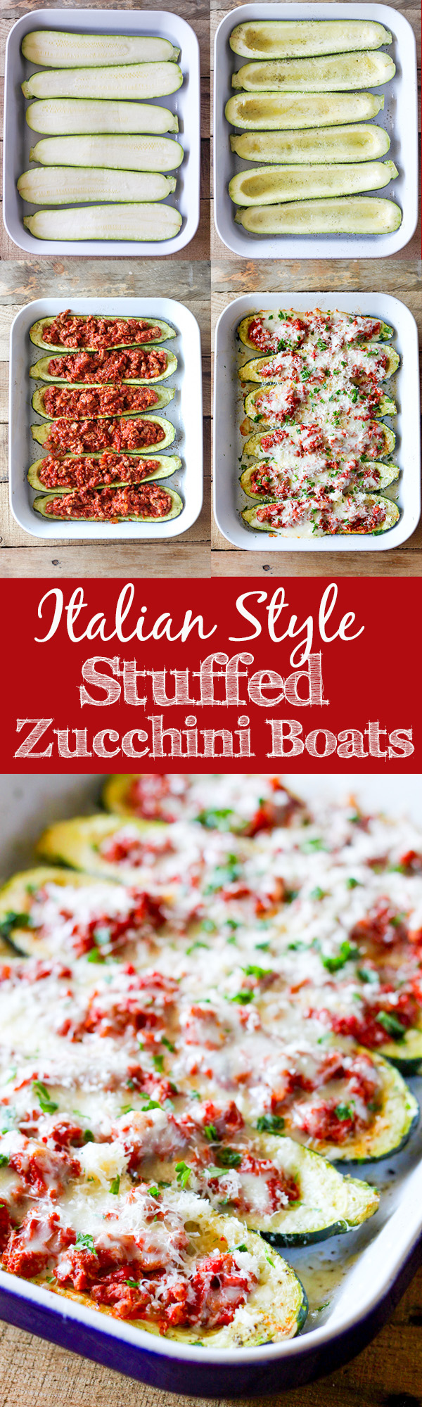 Italian Stuffed Zucchini Boats - roasted zucchini boats stuffed with ...