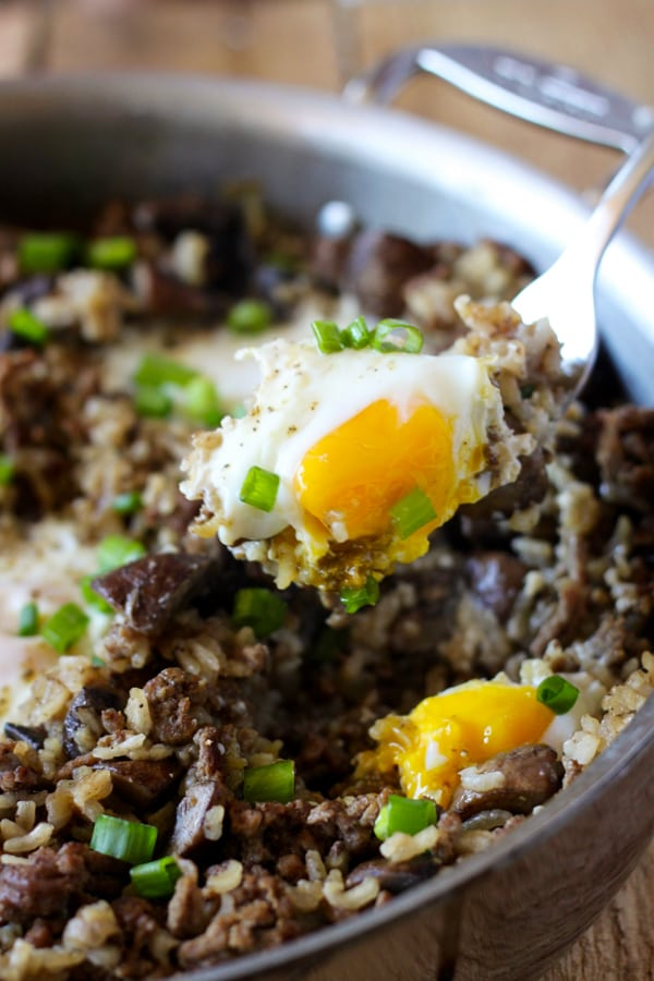 One Pot Hawaiian Loco Moco - an easy one-pot breakfast or dinner version of the local Hawaiian comfort food.