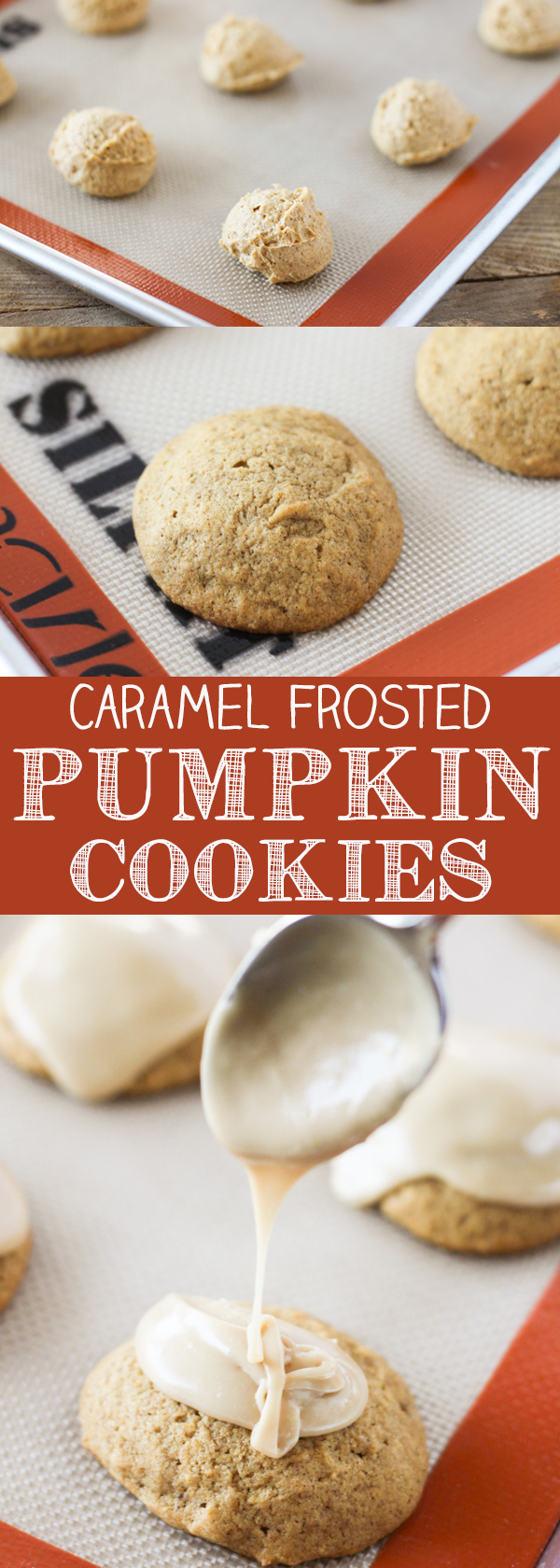 Super soft Caramel Frosted Pumpkin Cookies loaded with pumpkin pie spice and topped with a homemade caramel frosting.