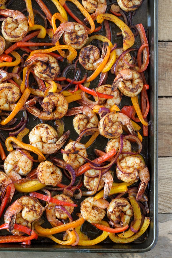 One Sheet Pan Shrimp Fajitas Recipe