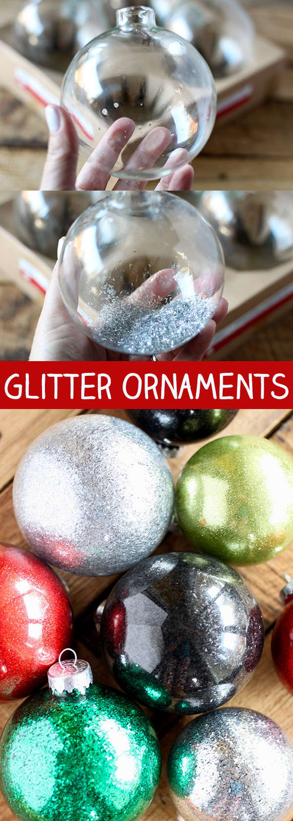 DIY Glitter Ornaments for Christmas - easy Christmas craft!