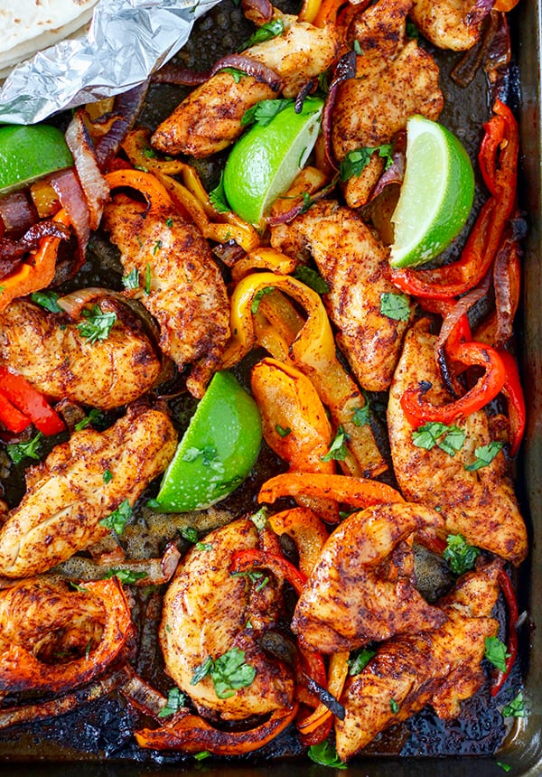 Sheet Pan Chicken Fajitas - a fast and easy dinner idea!