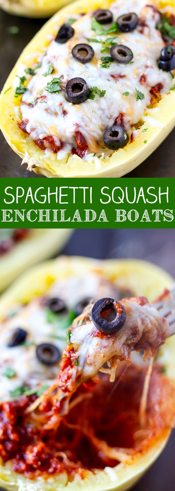 Spaghetti Squash Turkey Enchilada Boats