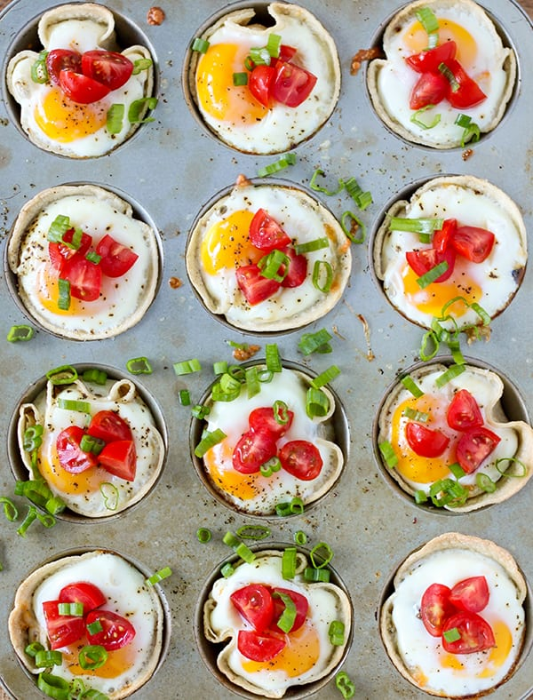 Breakfast Taco Cups - seasoned turkey sausage, shredded cheese and an egg baked in a tiny taco cup!