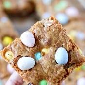 Easter Cadbury Egg M&M Cookie Bars-7
