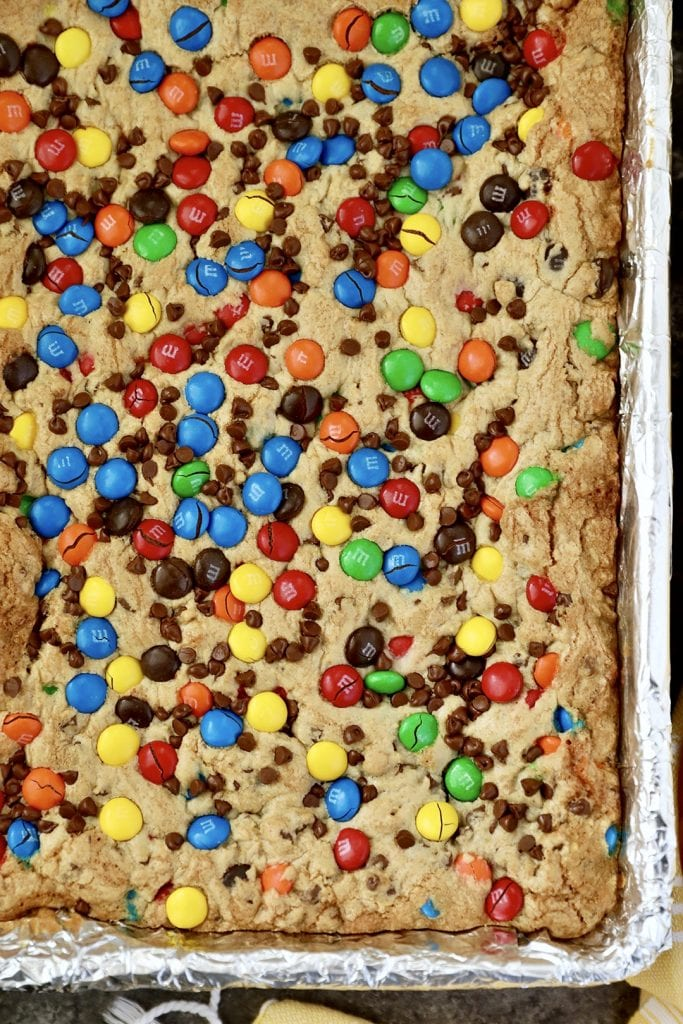 Colorful M&M Cookie Bars