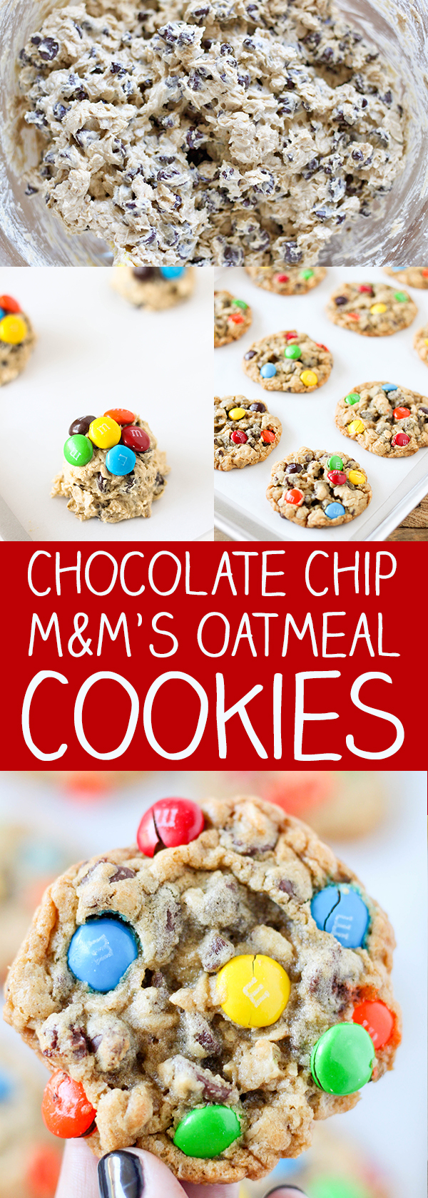 Chocolate Chip and M&M'S Oatmeal Cookies - packed with mini chocolate chips, semi sweet chocolate chips, oatmeal and colorful M&M'S!