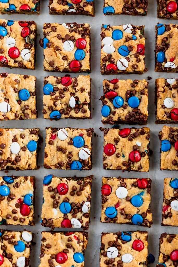 4th of July Dessert - Red White and Blue M&M'S Cookie Bars