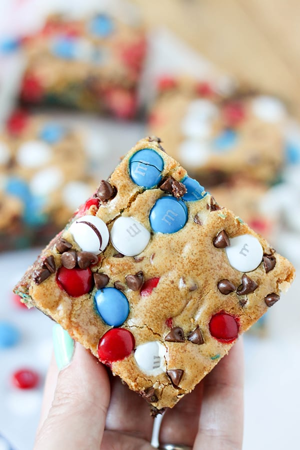 Red White and Blue M&M'S Cookie Bars