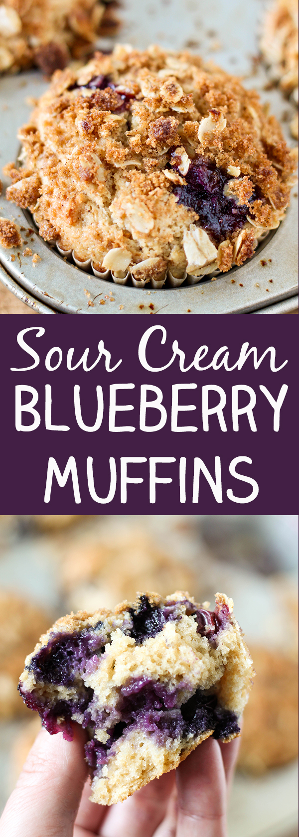 Sour Cream Blueberry Muffins - these wholesome muffins are packed with fresh blueberries, whole wheat flour, reduced fat sour cream and a crunchy oatmeal streusel topping.