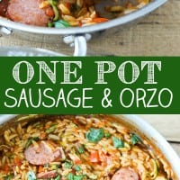 One Pot Smoked Sausage and Orzo