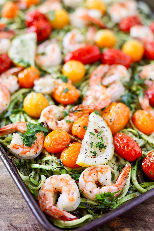 Sheet Pan Lemon Garlic Shrimp and Zucchini Noodles aka Zoodles - everything cooks on one sheet pan!
