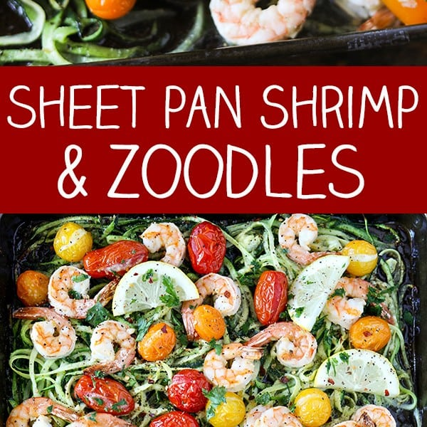 Sheet Pan Lemon Garlic Shrimp and Zucchini Noodles