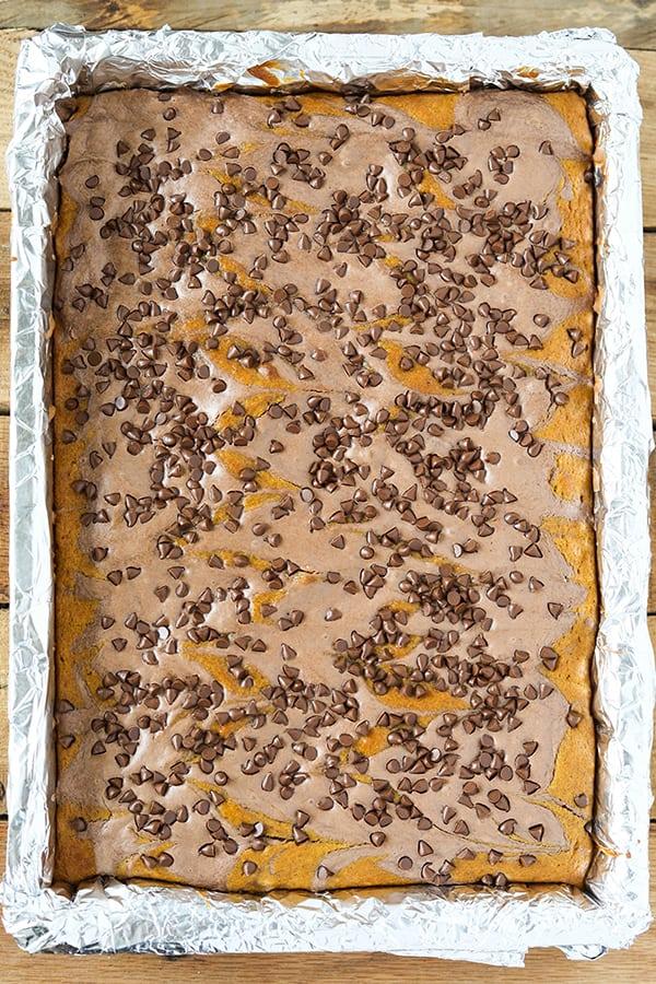 Chocolate Swirl Pumpkin Bars