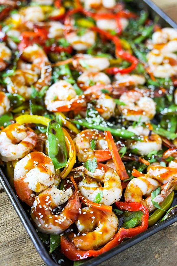 Sheet Pan Shrimp Stir Fry - easy sheet pan dinner idea!