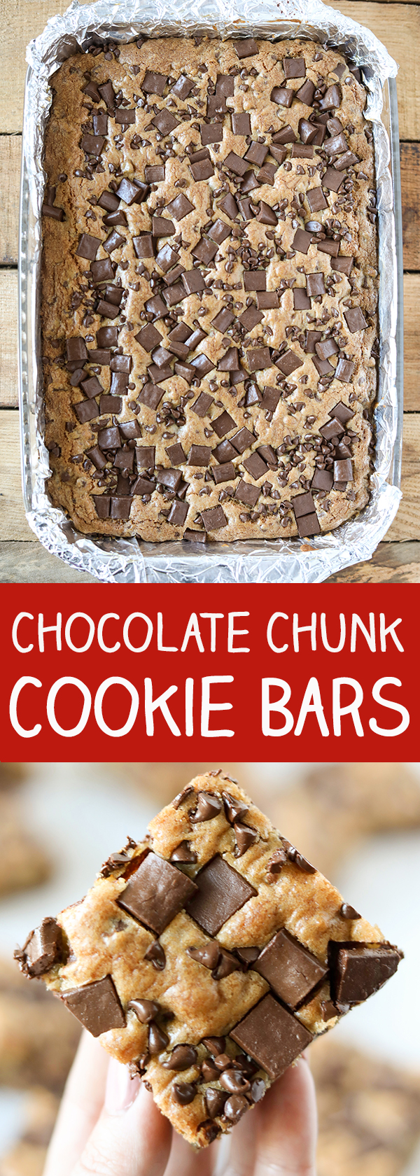 Chocolate Chunk Chocolate Chip Cookie Bars
