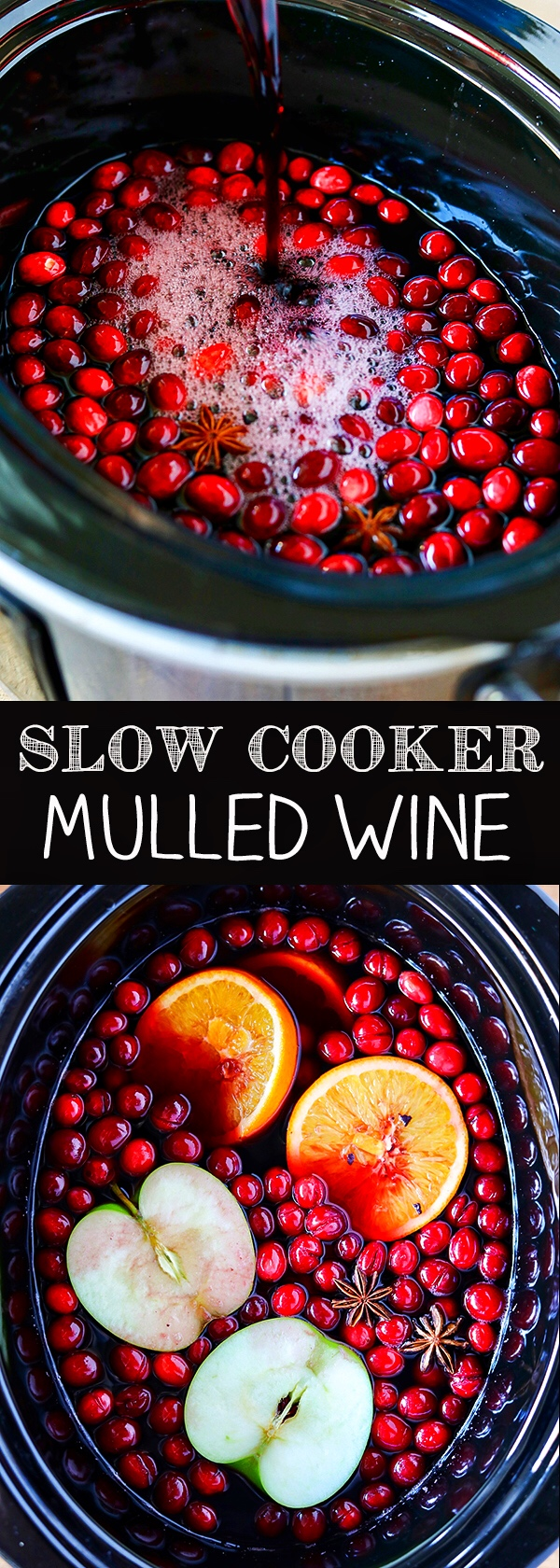 Slow Cooker Mulled Wine is packed with fruity flavors and warm spices, and is perfect for the holidays.