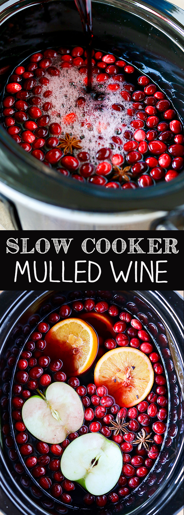 Slow Cooker Mulled Wine - red wine, fresh cranberries and rum!
